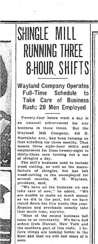 Seattle Times Article on Depression-Era Wayland Mill Operation