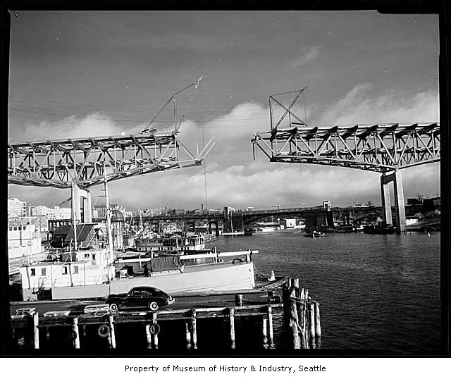 Lake Washington Ship Canal Bridge under construction · Lake
