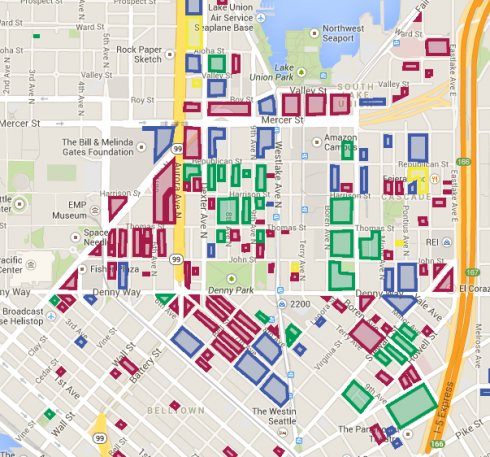 Developing map   South Lake Union Color Theming: Red = Developable